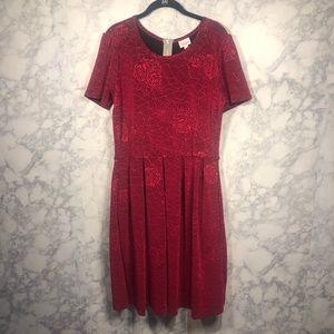 Lularoe 2xl Amelia red rose textured dress